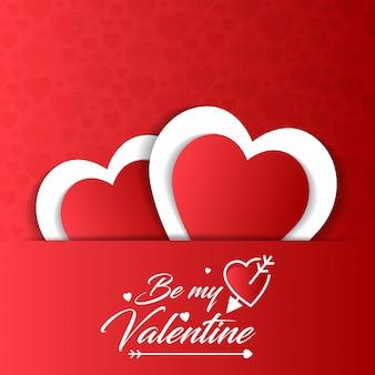 Seien Sie meine Valentinsgrußkarte mit rotem Musterhintergrund