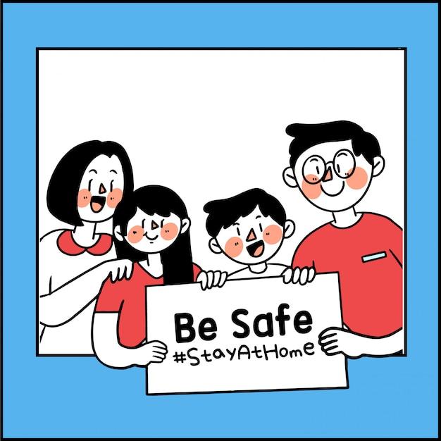 Seien sie sicher und bleiben sie zu hause corona covid-19 kampagne bearbeitbare illustration