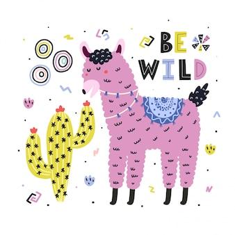 Seien sie wilde karte mit niedlichem lama, das kaktus isst. lustiger druck im kindlichen stil mit alpaka. trendy skandinavisches design. illustration