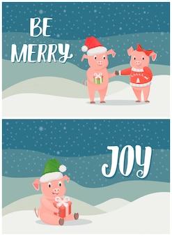 Seien sie, winterurlaub-freude-postkarten mit schweinen fröhlich