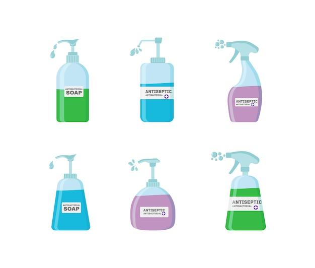 Seife, antiseptische gelprodukte, die bakterien abtöten. hygiene icons set. antibakterielles konzept. flüssiges alkohol-antiseptikum in der pumpflasche.