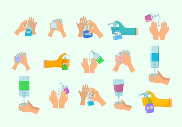 Seife, antiseptisches gel und andere hygieneprodukte. antiseptisches spray im kolben tötet bakterien ab. hygiene icons set. antibakterielles konzept. alkoholflüssigkeit, pumpsprühflasche.