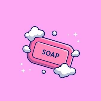 Seife mit schaumblasen-symbol-illustration. gesundheitswesen und medizinisches symbolkonzept weiß isoliert