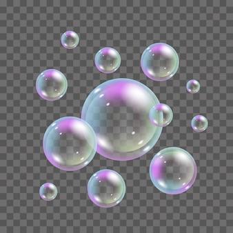 Seifenblasen mit regenbogenfarben auf transparentem hintergrund. 3d realistische fliegende schaumblasen gesetzt - illustration