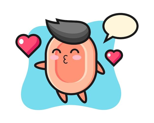 Seifencharakter-karikatur mit kussgeste, niedlicher stil für t-shirt, aufkleber, logoelement