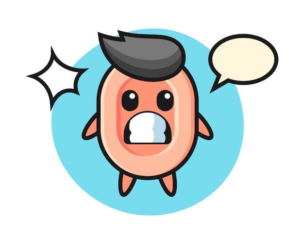 Seifencharakter-karikatur mit schockierter geste, niedlicher stil für t-shirt, aufkleber, logoelement