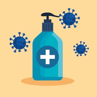 Seifenflasche und covid-19-virus-illustration