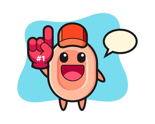 Seifenillustrationskarikatur mit handschuh der nummer 1 fans, niedlicher stil für t-shirt, aufkleber, logoelement