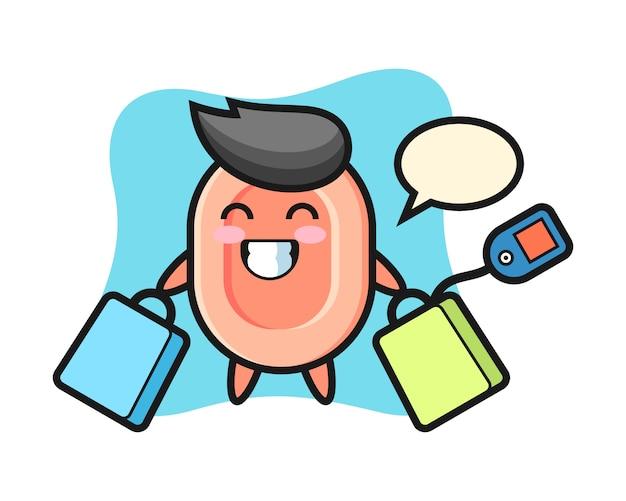 Seifenmaskottchenkarikatur, die eine einkaufstasche, niedlichen stil für t-shirt, aufkleber, logoelement hält