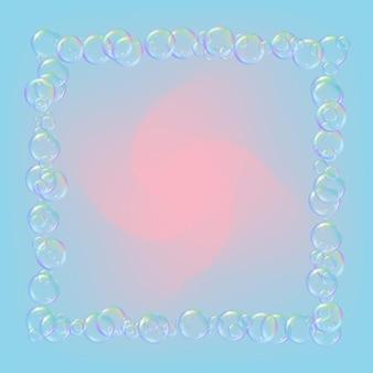 Seifenschaum auf steigungshintergrund. realistische wasserblasen 3d. kühler regenbogenfarbener flüssigschaum mit shampooblasen. kosmetischer flyer und einladung. seife für bad und dusche. vektor-eps10.