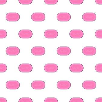 Seifenstück nahtloses muster auf einem weißen hintergrund. seifenthema-vektorillustration