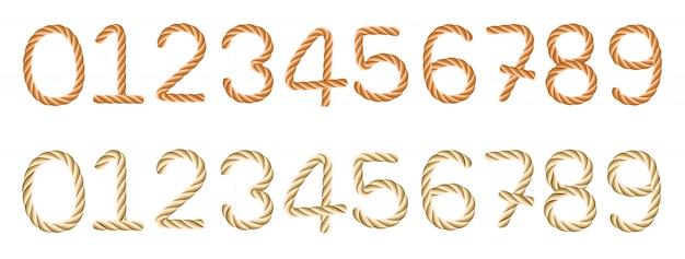 Seil nummeriert symbole und zahlen