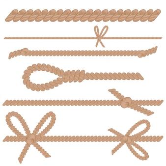 Seil, schnur, schnur mit knoten, bögen und schleifenkarikatursatz lokalisiert auf einem weißen hintergrund.