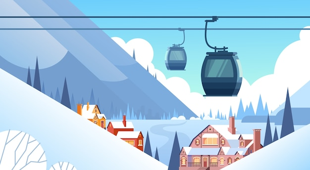 Seilbahn-transport-seil-weise über winter-berg