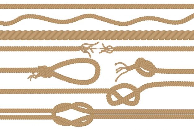 Seilbürsten mit verschiedenen knoten gesetzt