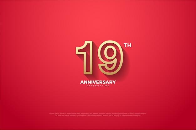 Sein neunzehntes jubiläum mit einem leicht verblassten roten hintergrund