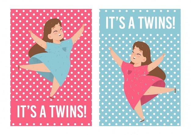Seine zwillinge baby-duschen-karten eingestellt mit netten mädchen