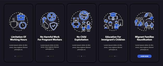 Seite bildschirm der mobilen app mit konzepten für die rechte von wanderarbeitnehmern beim onboarding