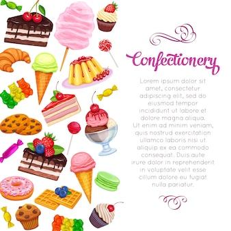 Seite mit süßwaren und süßigkeiten