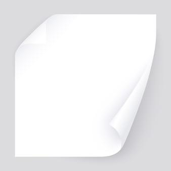 Seite mit zwei gekräuselten ecken mit realistischem schatten, leere papierschablone für fahne, flieger. post für notizen, erinnerung, erinnern. gebogene realistische seite getrennt auf transparentem.