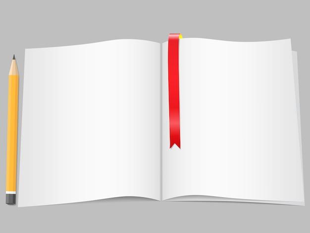 Seiten mit lesezeichen und bleistift