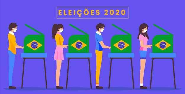 Seitenansicht brasilien leute, die wählen und medizinische maske tragen