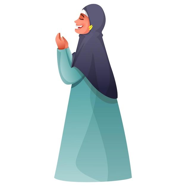 Seitenansicht der muslimischen frau, die namaz (gebet) in stehender pose anbietet