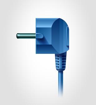 Seitenansicht des elektrischen steckers, realistisches objekt,