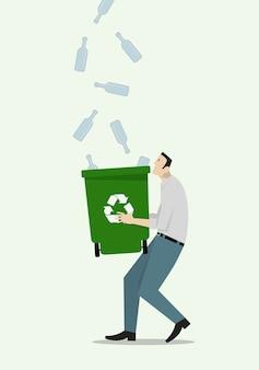 Seitenansicht des karikaturmanns, der leere glasflaschen mit papierkorb sammelt