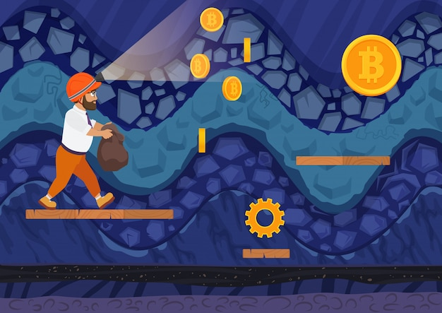 Seitenansicht des mannes, der mit tasche für bitcoins in meinem geht. cartoon-spielstil