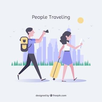 Seitenansicht des Paares Reisen