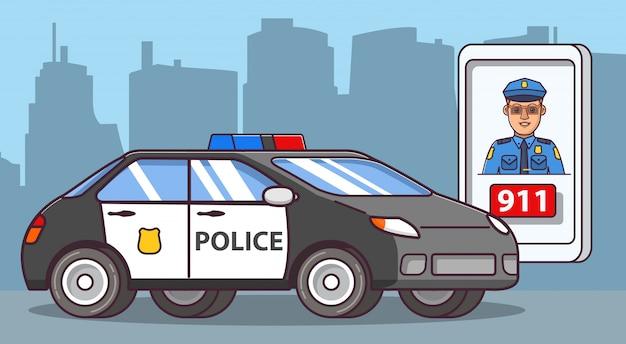 Seitenansicht des polizeiwagens, polizistoffizier.