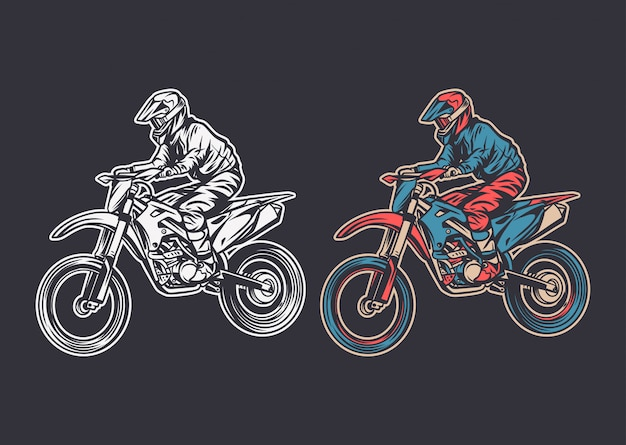 Seitenansicht des weinleseillustrations-motocross