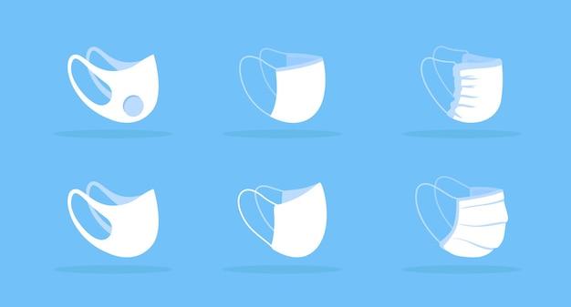 Seitenansicht gesichtsmaske weißes modell. unterdrückung der covid-übertragung. vermeiden sie die exposition gegenüber staub und kleinen partikeln. schutzausrüstung. moderne artikel-cliparts. isolierte designvorlage auf blauem hintergrund