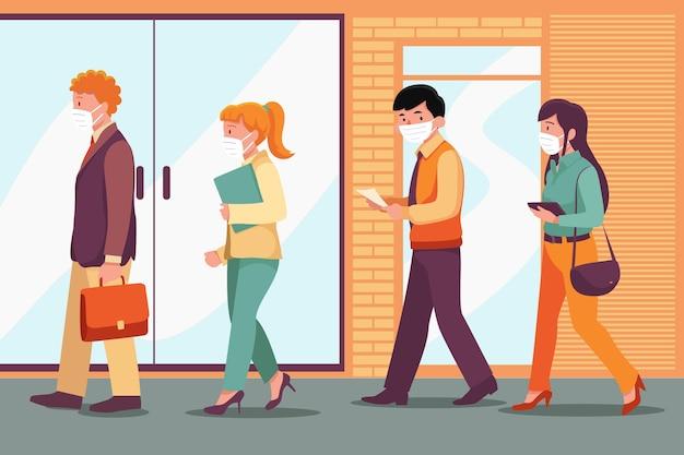 Seitenansicht leute, die zurück zur arbeit gehen, tragen gesichtsmaske