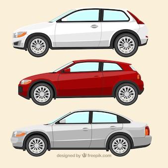 Seitenansicht von drei europäischen autos
