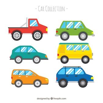 Seitenansicht von sechs verschiedenen autos