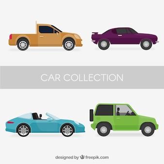 Seitenansicht von vier verschiedenen autos