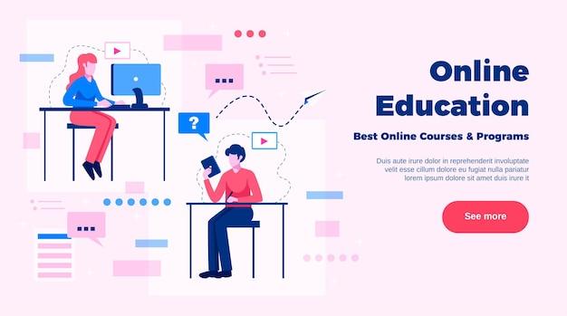 Seitendesign der online-bildungswebsite