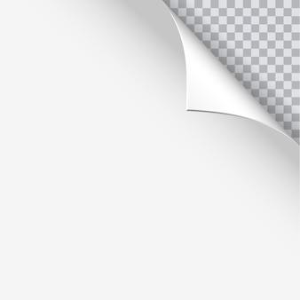 Seitenrollen mit schatten auf leerem blatt papier. illustration für ihr design und geschäft