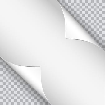 Seitenrollen mit schatten auf leerem blatt papier.