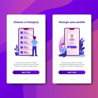 Seitenvorlage von wählen sie eine kategorie und verwalten sie ihr profil