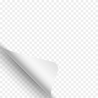 Seitenwölbung auf transparentem hintergrund. weißes papier.