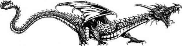 Seitliche mythischen drachen tier