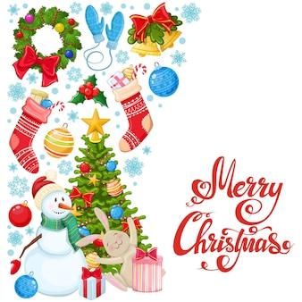Seitlicher vertikaler rand mit weihnachtsikonen. bunte karikaturweihnachtsillustration für dekoration.