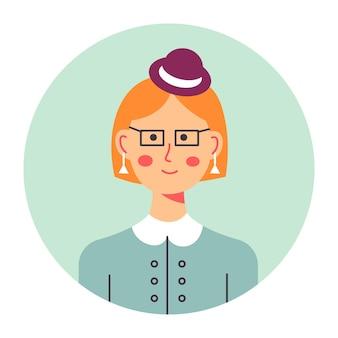 Sekretär- oder firmenarbeiterporträt des weiblichen charakters, isolierte elegante dame mit ohrringen und kopfbedeckungen. berufsprofil des jungen mädchens für medien oder avatar. professioneller vektor im flachen stil