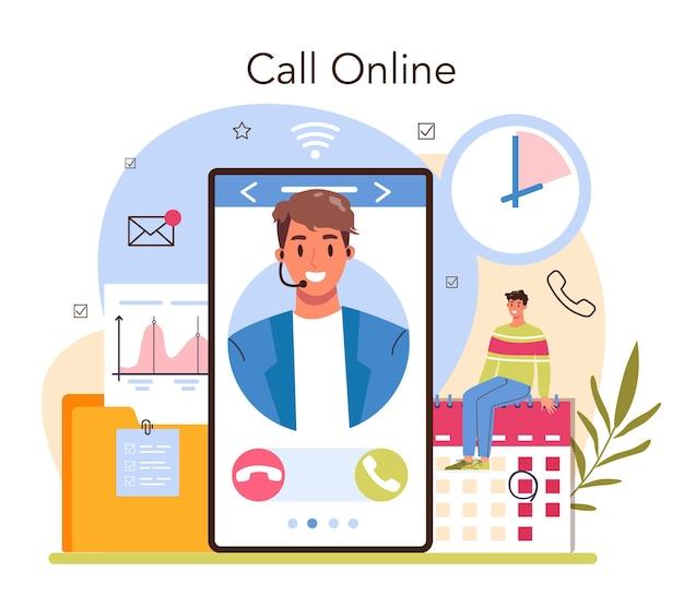 Sekretärin online-dienst oder plattform. rezeptionistin, die anrufe entgegennimmt und mit dokumenten hilft. professioneller büroangestellter. online-anruf. flache vektorillustration