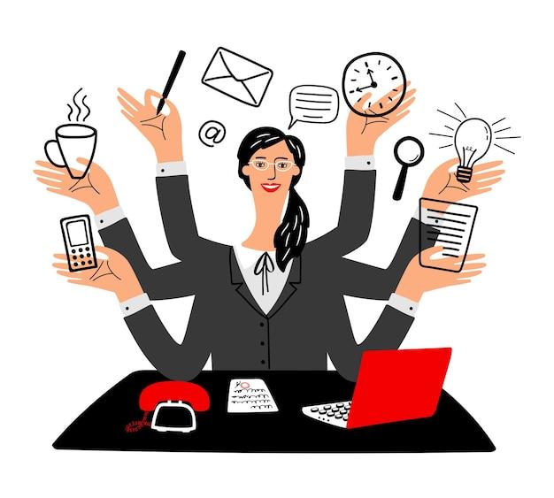 Sekretärin-symbol. cartoon-sekretärinnen, beschäftigte, glückliche bürogeschäftsfrau mit laptop-computer, büroleiterin mit mehreren aufgaben