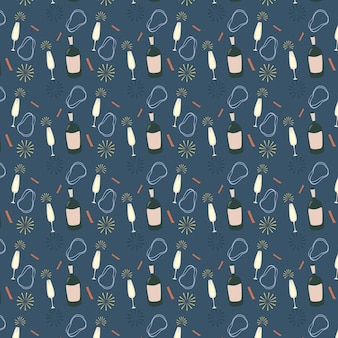 Sektflaschen und gläser vector nahtloses muster auf blauem hintergrund. partyeinladung, weihnachtskarte. moderne grunge-hintergrundtextilien, drucke, papierprodukte, das web. mädchenmuster