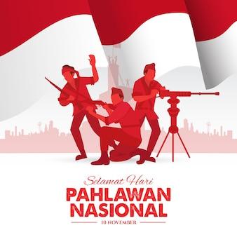 Selamat hari pahlawan nasional. übersetzung: glücklicher indonesischer nationalhelden-tag. illustration für grußkarte